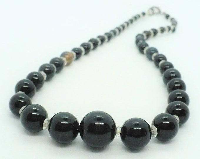 1920's Antique Arabic Onyx Gemstone Bead Necklace