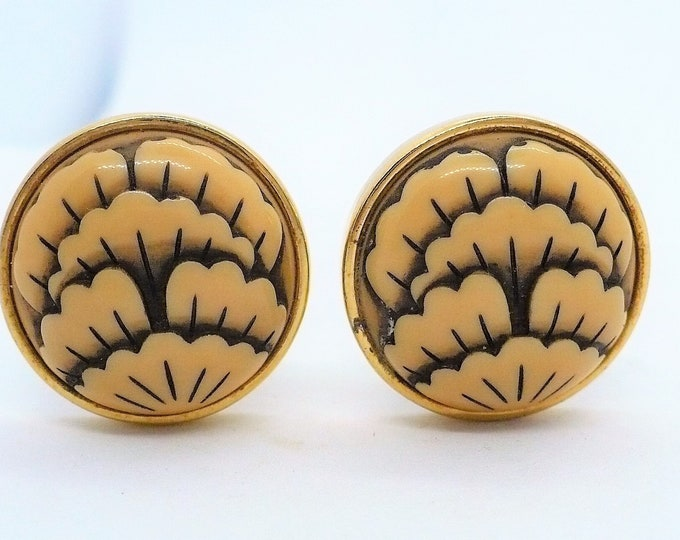 Rare Givenchy 1977 Vintage Gold Tone Clip On Earrings