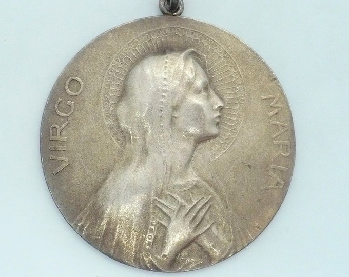 Big Antique Virgo Maria Virgin Mary Sterling Medallion 925 Industria Argentina