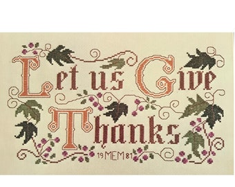 "Cross Stitch ""Let Us Give Thanks"" Graph Pattern Large DIY Vintage Craft Pamphlet Booklet Victorian Motto"