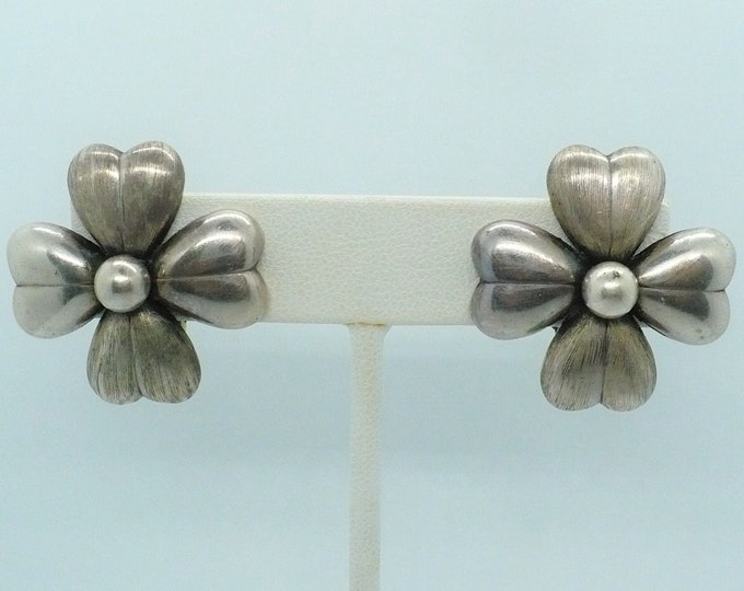 Industria Argentina Mid Century Hollow 900 Silver Clip On Earrings Vintage Jewelry