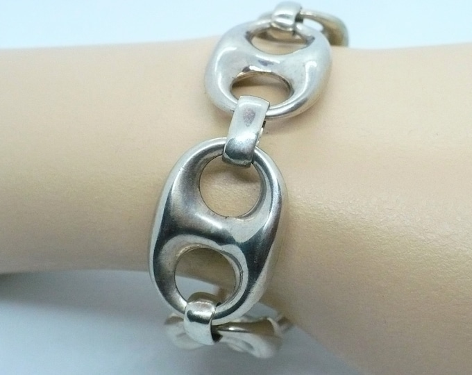 Large Mariner Silver Chain Link Bracelet Vintage Jewelry