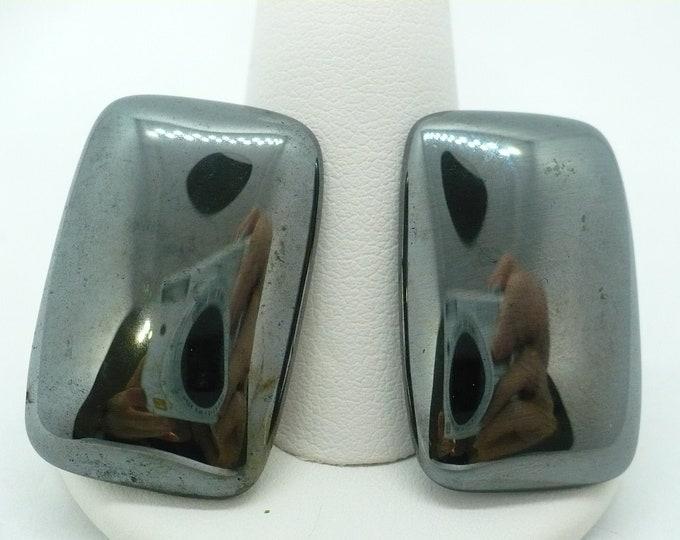 Large Hematite Gemstone Clip On Earrings