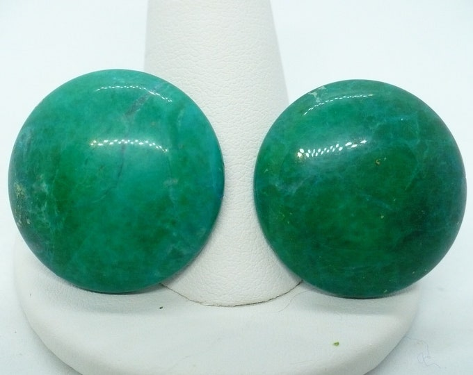 Large Dioptase Chrysocolla Clip Earrings Round