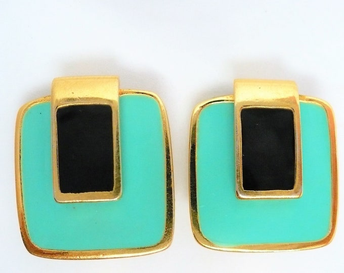 Givenchy 1977 Vintage Turquoise Black Enamel Gold Clip On Earrings