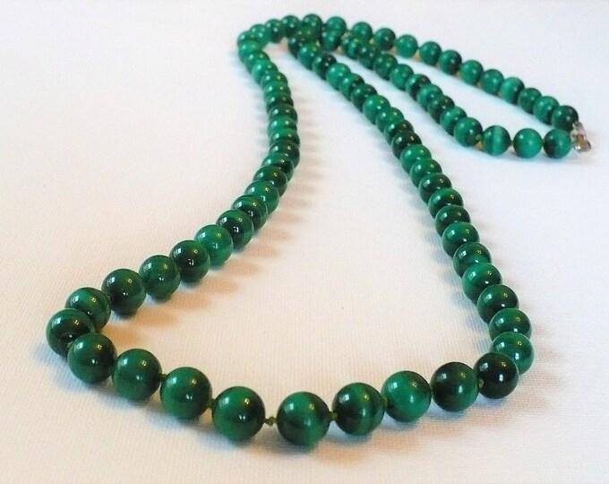 Malachite Gemstone Bead Necklace 38 inch