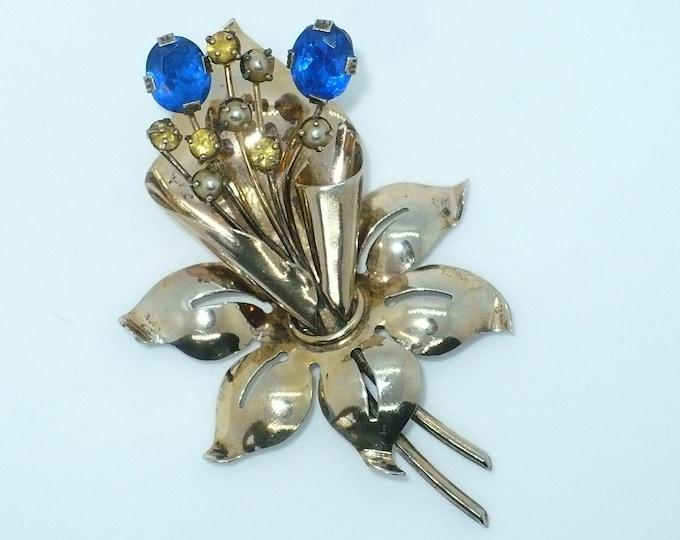 BIG 1940's Vintage Sterling Silver Gold Daffodil Brooch Large