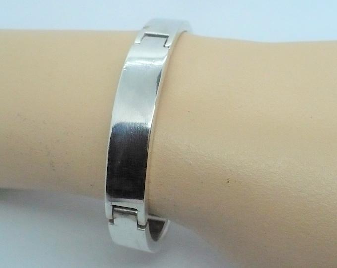 Multi-Hinged Sterling Silver Bangle Bracelet Vintage Industria Argentina