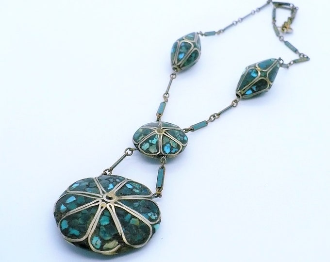 1910's Antique Kashmiri Turquoise Lavalier Necklace Rare