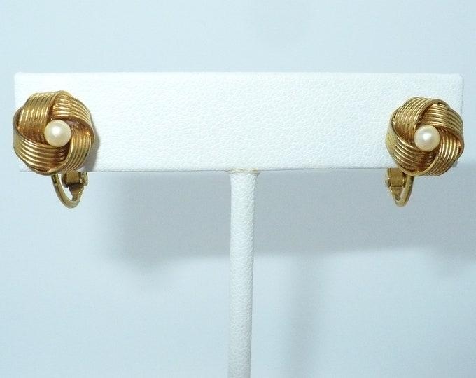 Gilt Love Knot Pearl 1960's Vintage Clip On Earrings