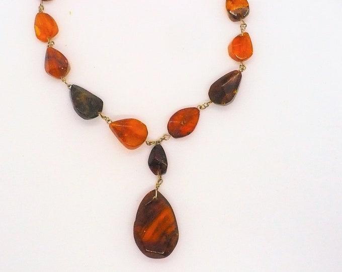 Edwardian Antique Baltic Amber Lavalier Necklace
