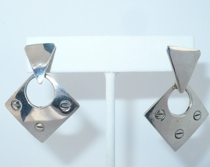 Taxco Sterling Silver 1980's Vintage Pierced Drop Earrings