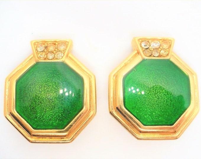 Stunning Green Guilloche Enamel Statement Earrings 1980's Vintage Gold Tone Clip On