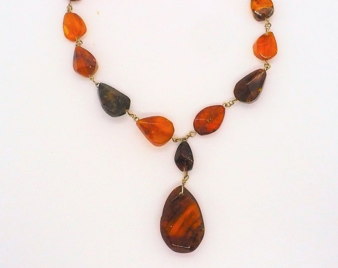 Antique Baltic Amber Lavalier Necklace 18 inch