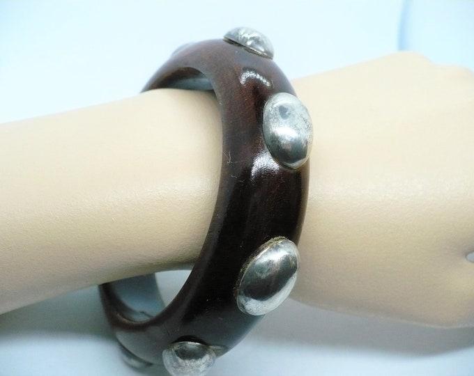 Hand Carved Teak Wood Bangle Bracelet