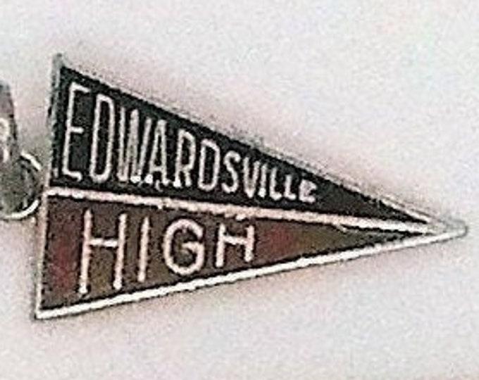 Edwardsville Charm 1960's Vintage High School Sterling Silver Pennant Charm