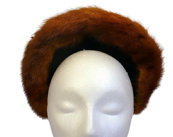1940's Vintage Fur Leather Winter Pompadour Victory Rolls Hat
