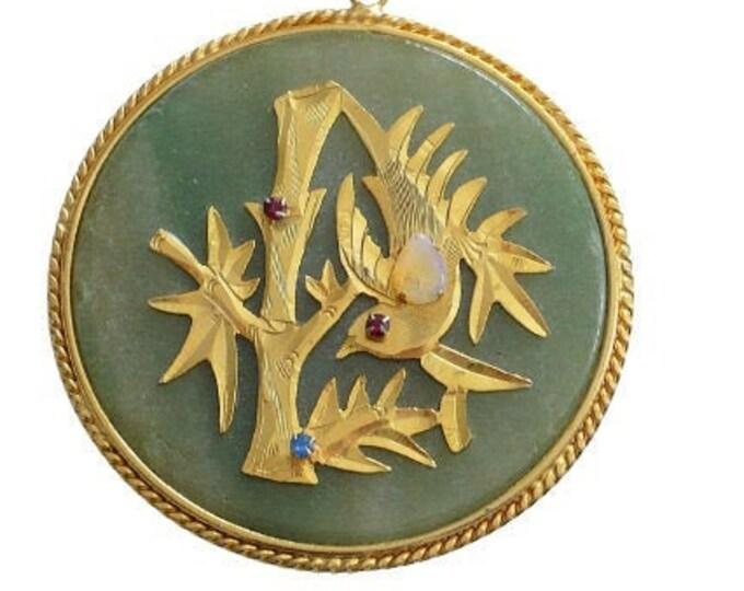 1960's Vintage Chinese Aventurine Fu Auspicious Pendant