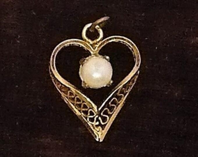 Vintage GF Heart Pearl Pendant Small