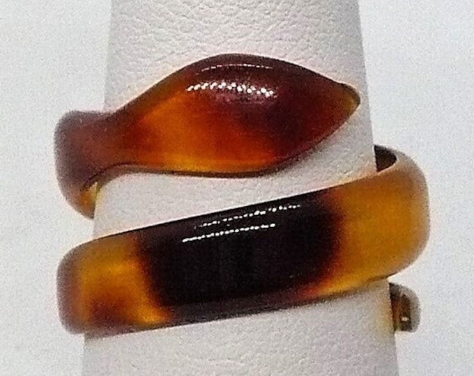 sz 7 1/2 Vintage Simulated Turtle Shell Coiling Snake Ring