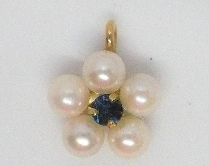 Vintage Daisy Pearl Sapphire Gold Pendant KREMENTZ