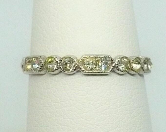 sz 7 Art Deco McGrath-Hamon Paste Sterling Silver Band Ring