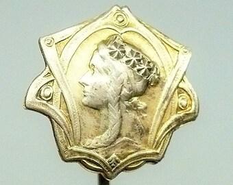 Late 19th Century Art Nouveau Lady Cravat Stick Tie Scarf Pin Antique Jewelry