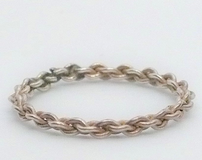 sz 6 3/4 Narrow Chain Stackable Band Ring Vintage Sterling Silver Jewelry