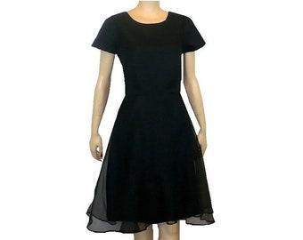 S Darling Date Dress Vintage 1960's Black Chiffon Dancing Dress Small Tall