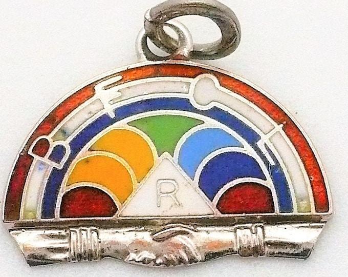 Masonic Charm Vintage International Order of the Rainbow for Girls IORG Sterling Silver Charm