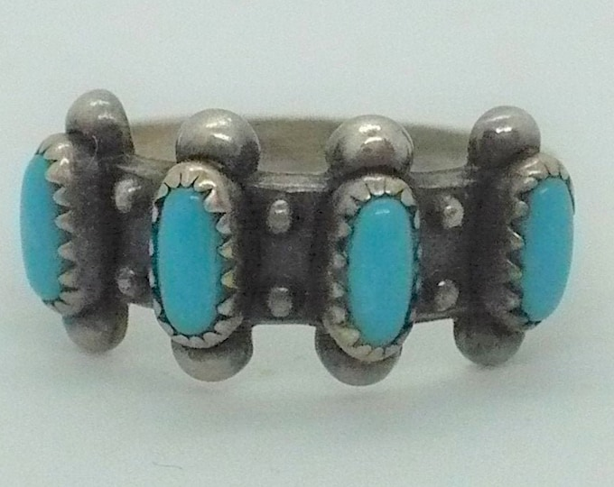 Vintage Bell Trading Turquoise Sterling Silver Ring Sz 6 3/4
