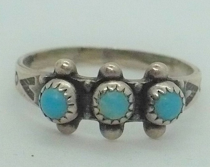 Vintage Bell Trading Turquoise Snake Eyes Turquoise Sterling Silver Ring Sz 6 1/4