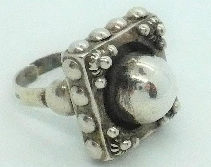 Boho Gypsy Vintage Silver Statement Ring Size 8 1/2 Adj