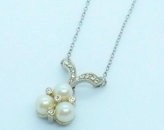 Vintage Pearl Diamante Lavalier Necklace