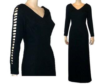 M Petite Peek-A-Boo!Leg Slits Vintage 1960's Long Dress Black Evening Dress Medium 8