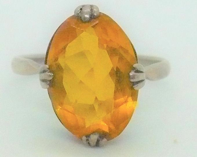 Antique Golden Topaz Silver Ring Sz 7 3/4