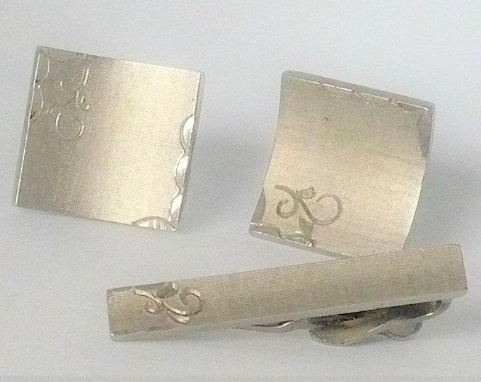 1960's Vintage Swank FO Steel Cut Cufflinks Tie Clip Set