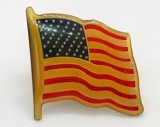 Bicentennial Patriotic Enamel American Flag Tie Tack Pin Vintage Jewelry