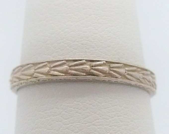 sz 7 1/2 Wheat Stackable Sterling Silver Band Ring