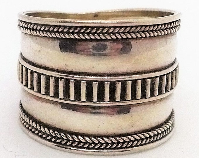 sz 9 1/2 Sterling Silver Thumb Ring Vintage Jewelry