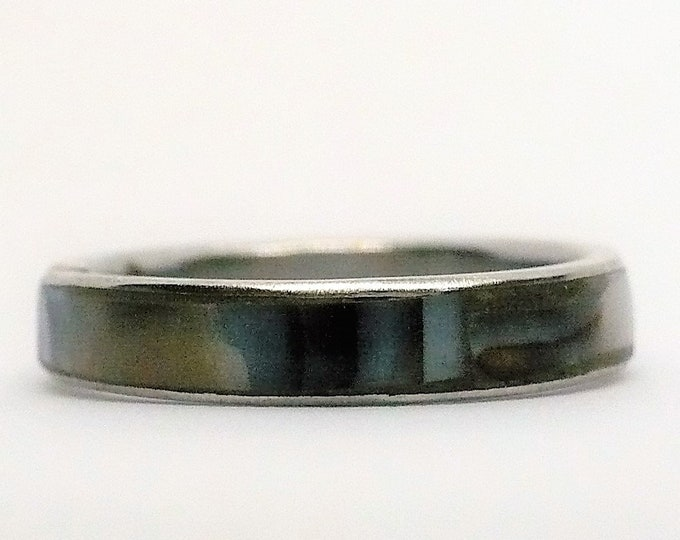 sz 8 Abalone Shell Inlay Band Ring Vintage Jewelry