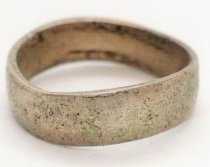 sz 5 3/4 Antique Native American Coin Silver Band Ring