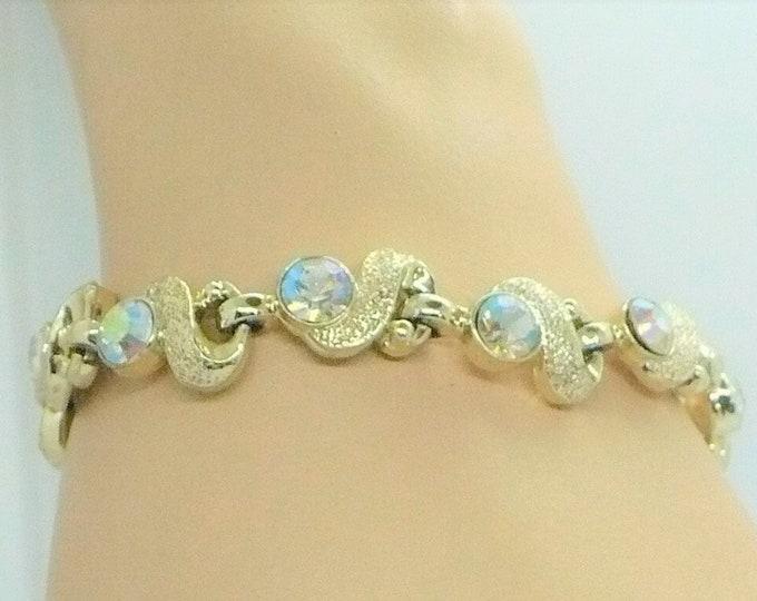 1960's Vintage Aurora Borealis Gold Tone Link Bracelet