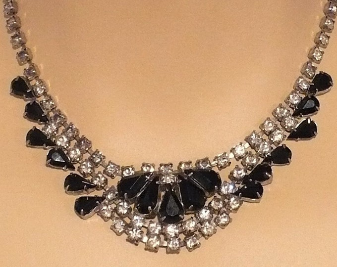 Black Czech Glass Rhinestone Choker Vintage Necklace