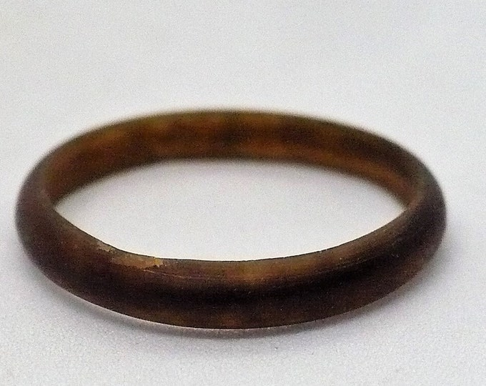 sz 6 Carved Bull Horn Band Ring