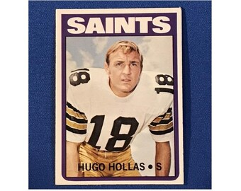 1972 Topps #296 Hugo Hollas Saints Football Card Trading Card Vintage Sports Memorabilia Collectibles