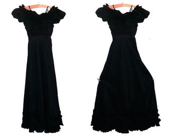 Vintage 1930's Prom Tango Dress Gown with Black Taffeta Ruffled Hem / XX-Small 0/ Get Lucky Vintage