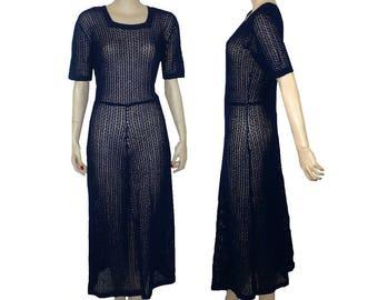 Bonnie, Where's Clyde? 1930's Vintage Blue Lace Crochet Dress Medium