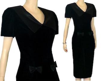 M All Occasion Vintage 1980's Black Velvet Dress