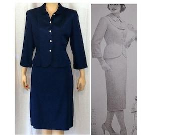 M Petite Professional Vintage 1950's Navy Blue Skirt Suit Medium